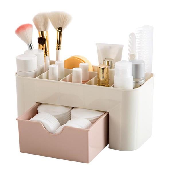 Durable Plastic Cosmetic Makeup Organizer Storage Box With Drawer