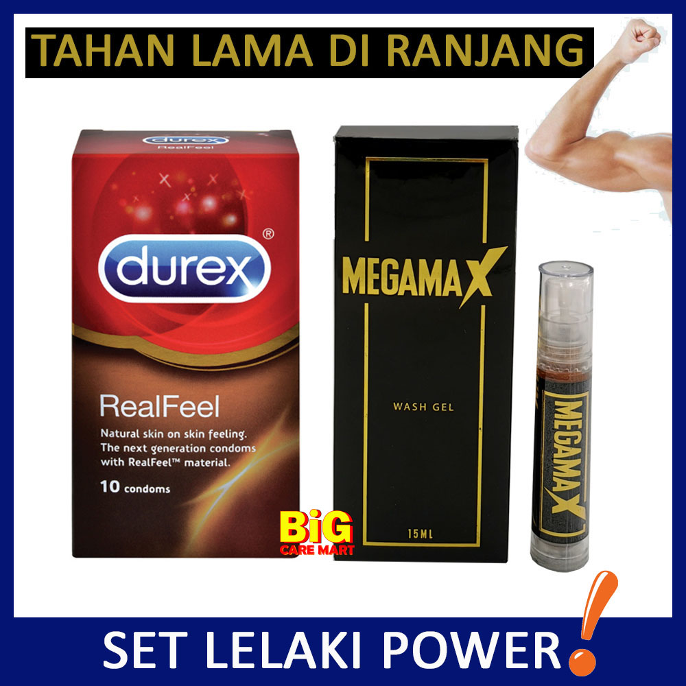 Durex Real Feel 10s + Megamax Gel Lelaki Power