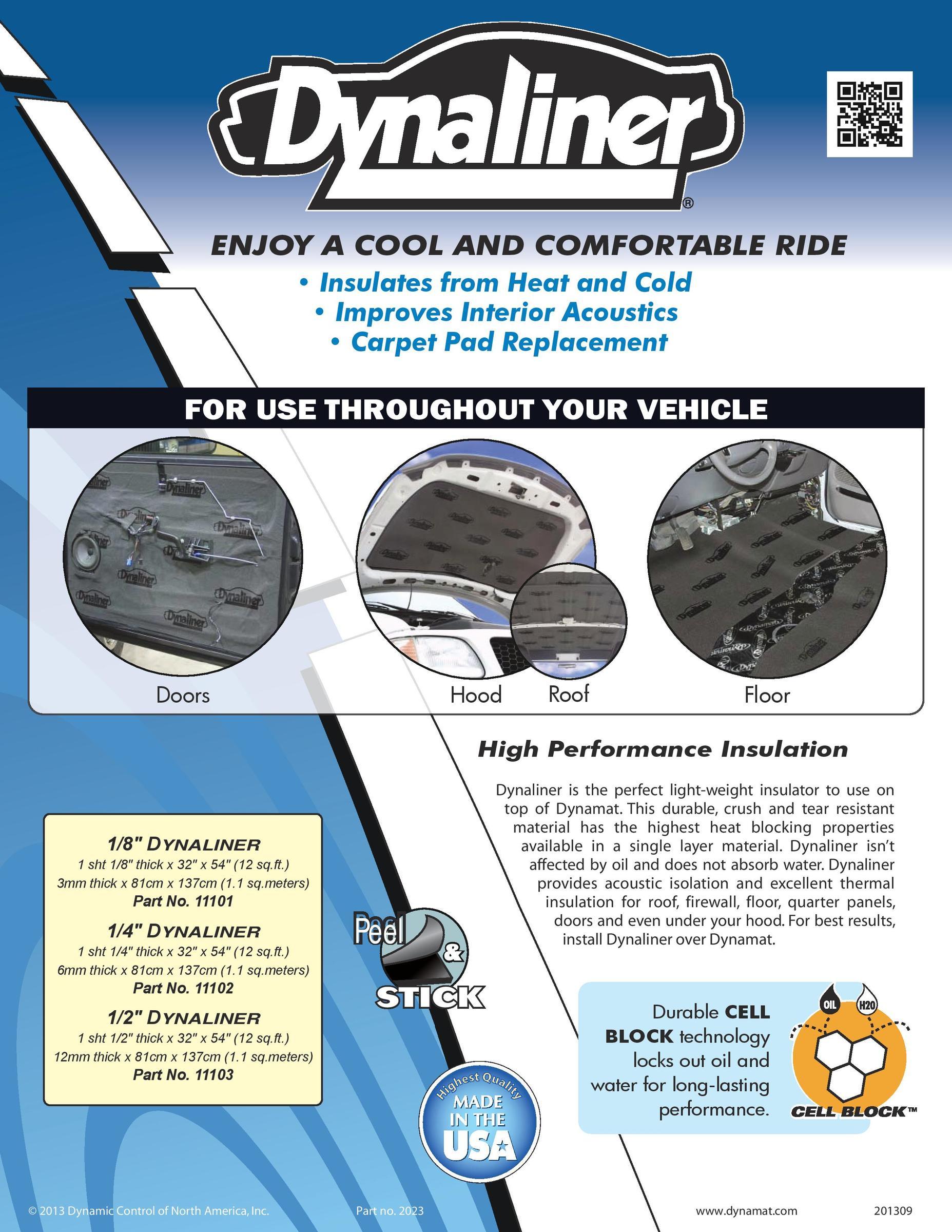 "Dynamat DynaLiner 11101 1//8/"" High Performance Insulation Kit"