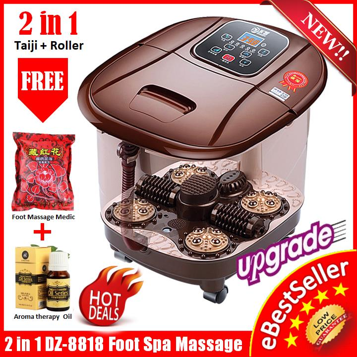DZ-8818 Auto Foot Spa Bath Massager Taiji + Roller Style Bubble Heat