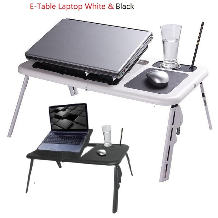 E-TABLE Portable Foldable Laptop Notebook Table  & Cooler Cooling Fan