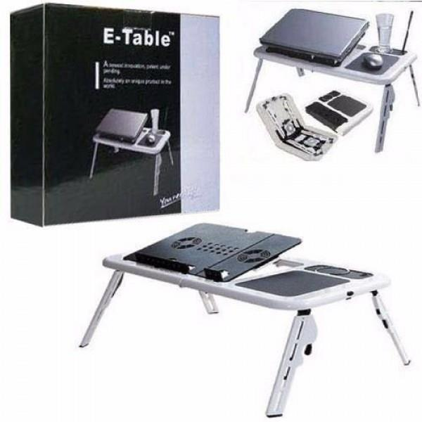 E Table Portable Foldable Laptop Table With Cooling System(White)