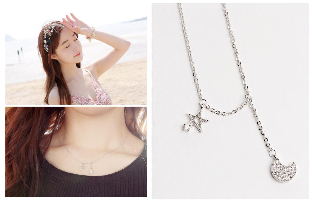 E0368 STAR AND MOON NECKLACE