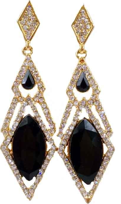 Earing - Black Stone Rec Shaped