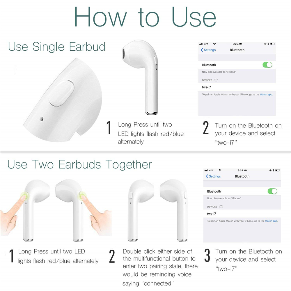 Earphones & Headphones? - 2 X BLUETOOTH Headset - I7s Tws Earphones Du..
