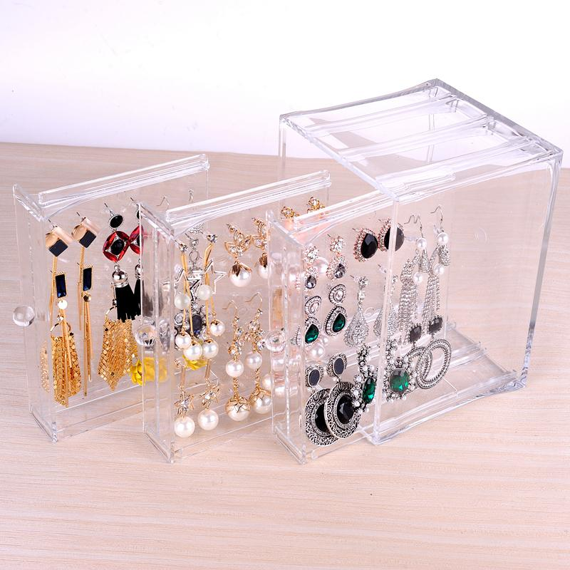 Earring Holder Acrylic Storage Box Jewellery Case 3 Panel