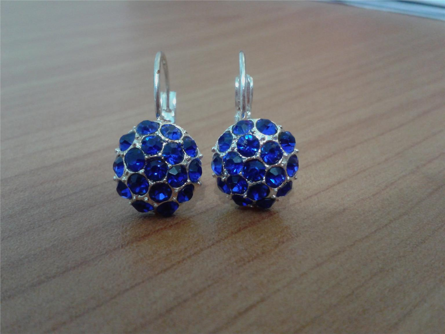EARRINGS - RHINESTONE EARRINGS DARK BLUE