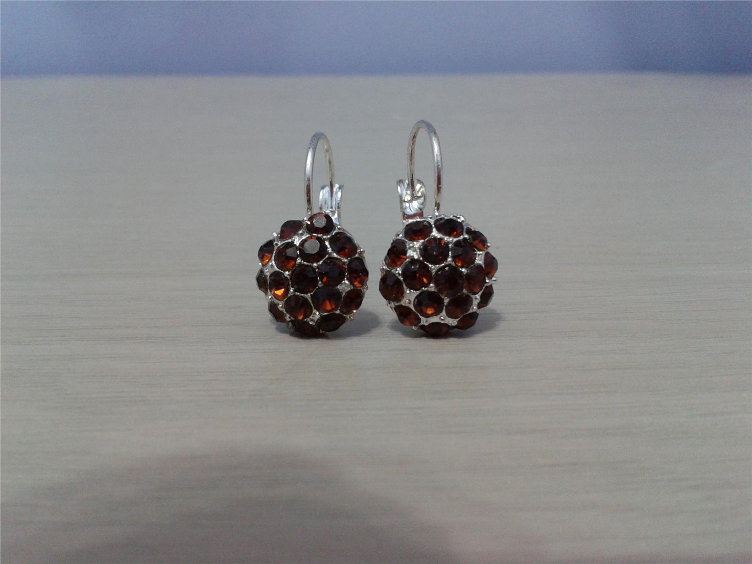 EARRINGS - RHINESTONE EARRINGS DARK BROWN