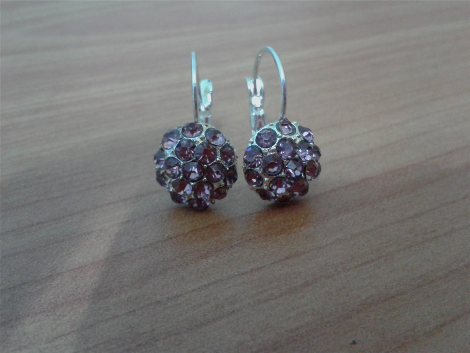 EARRINGS - RHINESTONE EARRINGS LIGHT PURPLE