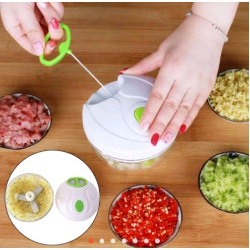 Easy Manual Hand Pull Speedy Chopper Blender Mixer MINI Shar - [KECIL]