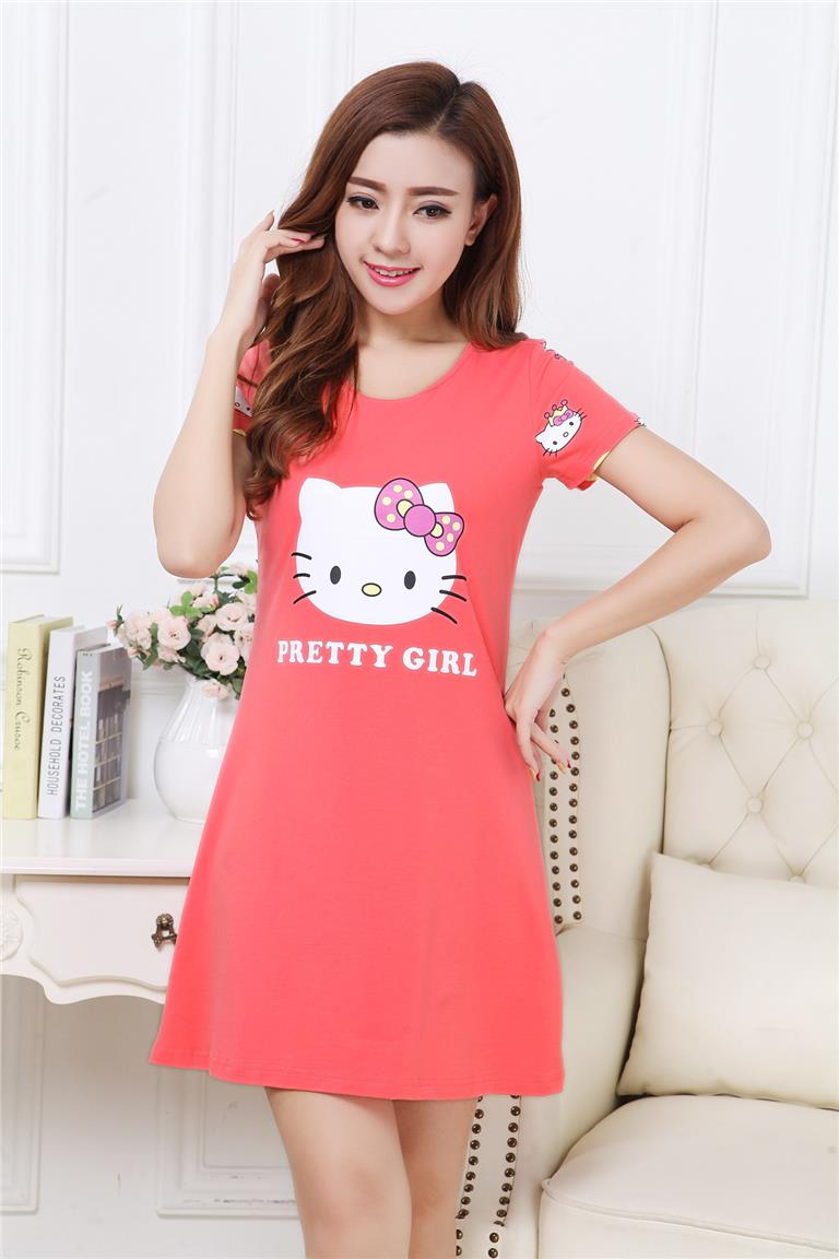 f17abb75b EAVIER Hello Kitty Nightdress Short Sleeve Pajamas Cups without Rims
