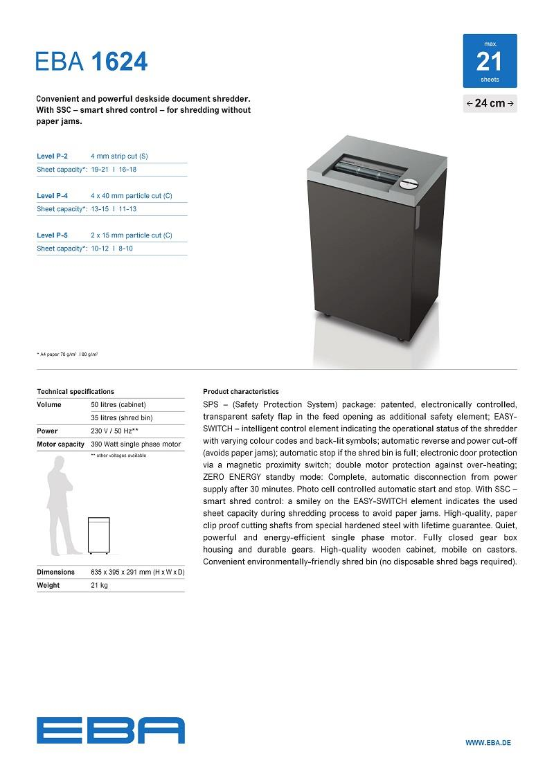 EBA Paper Shredder- 1624CC