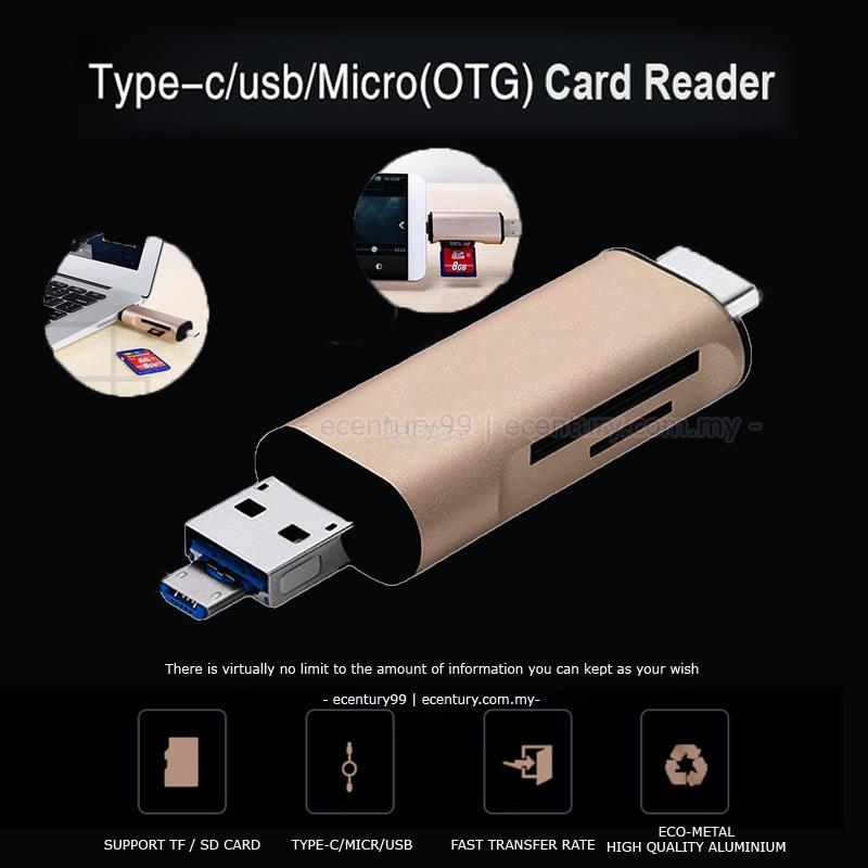ECENTURY99 USB3.1 Type C Micro SD T FLASH Card Reader OTG Adapter
