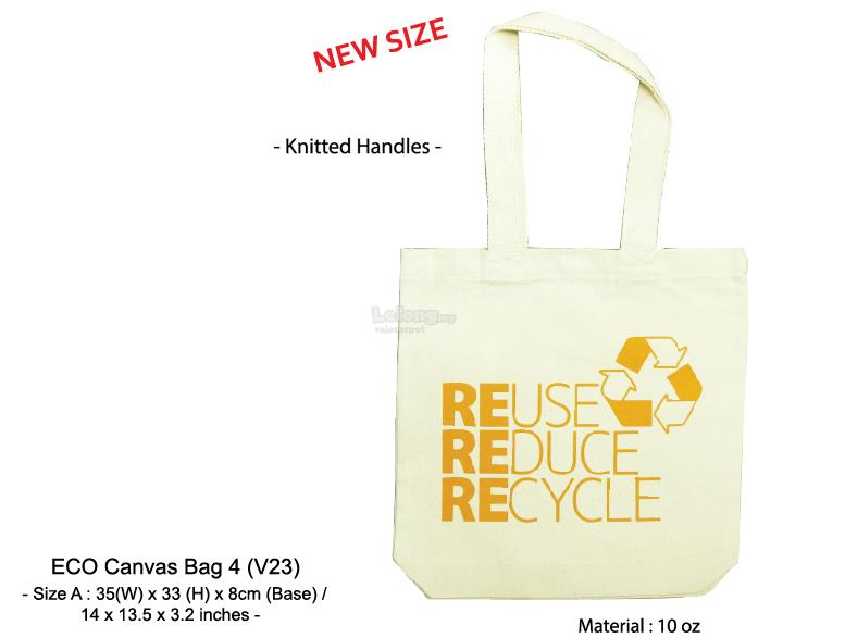 Eco Canvas bag big easy convenient knitted handles printing custom