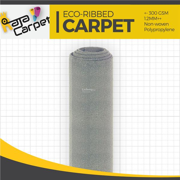 Eco Ribbed Expo Carpet L.Grey Office/Event/Home 1 Roll FREE DELIVERY