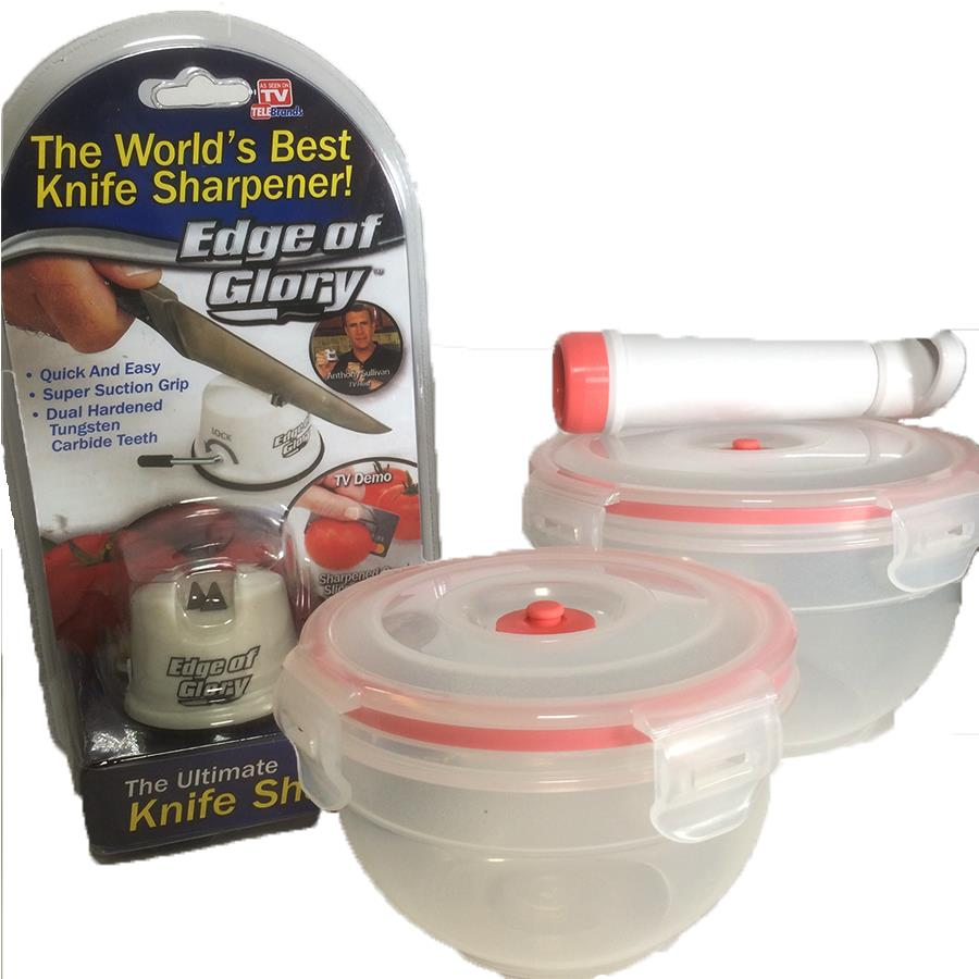 Edge Of Glory Knife Sharpener with Glasslock Food Container Or with VacuumSave