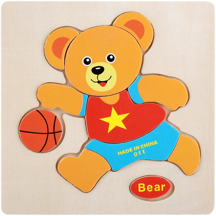 Educational Cartoon 3D Wood Puzzle (Bear)