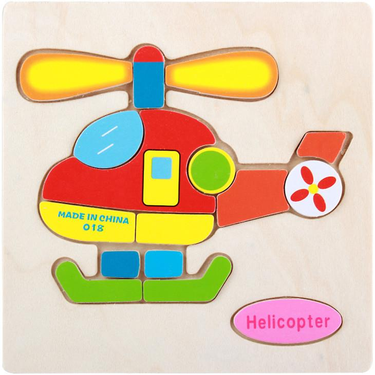 Educational Cartoon 3D Wood Puzzle (Helicopter)