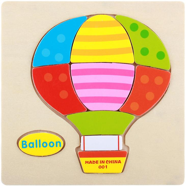 Educational Cartoon 3D Wood Puzzle (Hot Balloon)