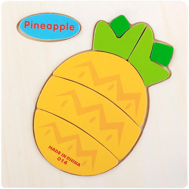 Educational Cartoon 3D Wood Puzzle (Pineapple)