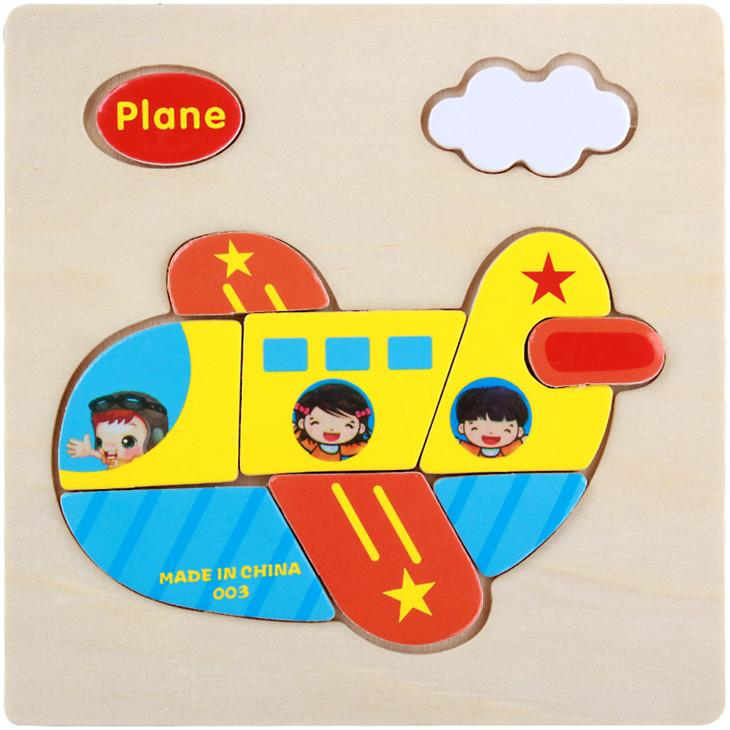 Educational Cartoon 3D Wood Puzzle (Plane)
