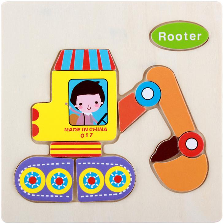 Educational Cartoon 3D Wood Puzzle (Rooter)