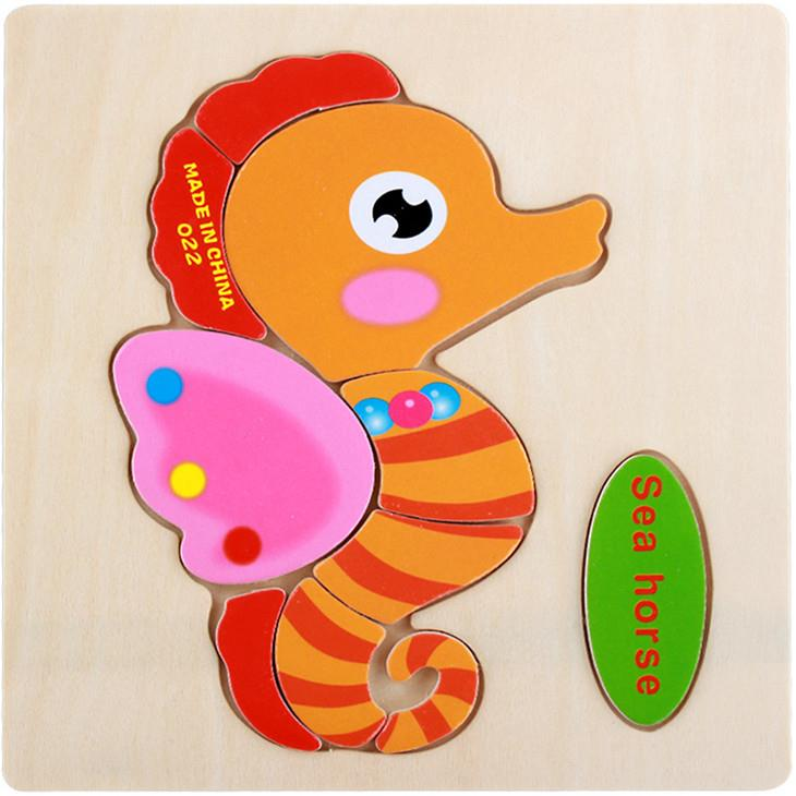 Educational Cartoon 3D Wood Puzzle (Sea Horse)