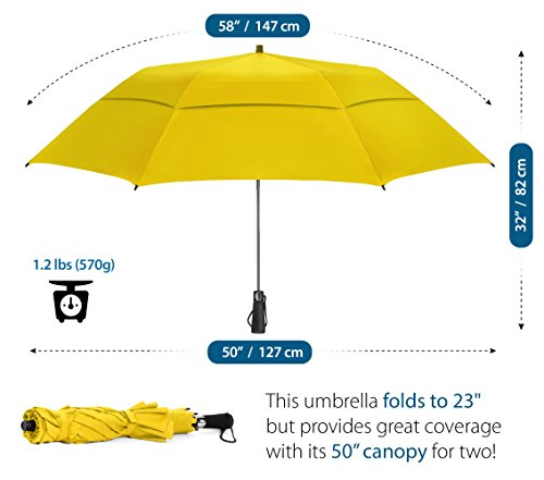 EEZ-Y 58 Inch Folding Golf Umbrella with Large Windproof Double Vented Canopy