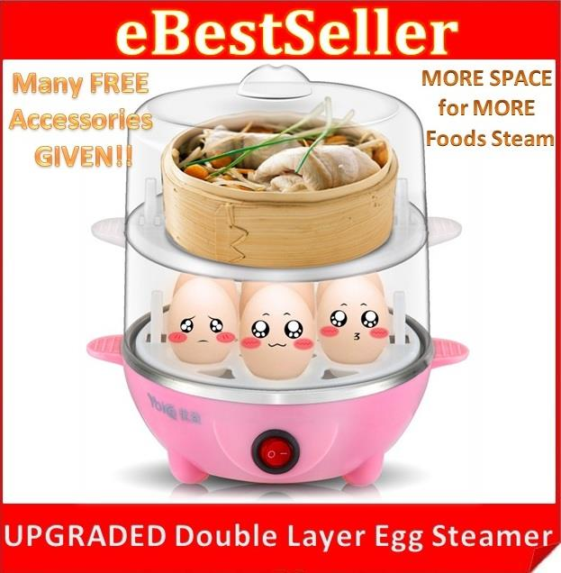 NEW Egg Food Steamer Steam Boiler Master 2 Layers Big Space