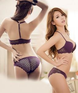 [EH1416-17187-PP]Charming Lace BeautyBack Push-Up Bra Set(Purple)
