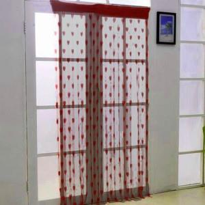 [EH1553-17310-WR] Korea Style Romantic Love Line Curtain (Wine Red)