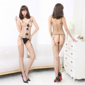[EH870-17253] Sexy Ribbon Big Net Fishnet Body Stocking One Suit