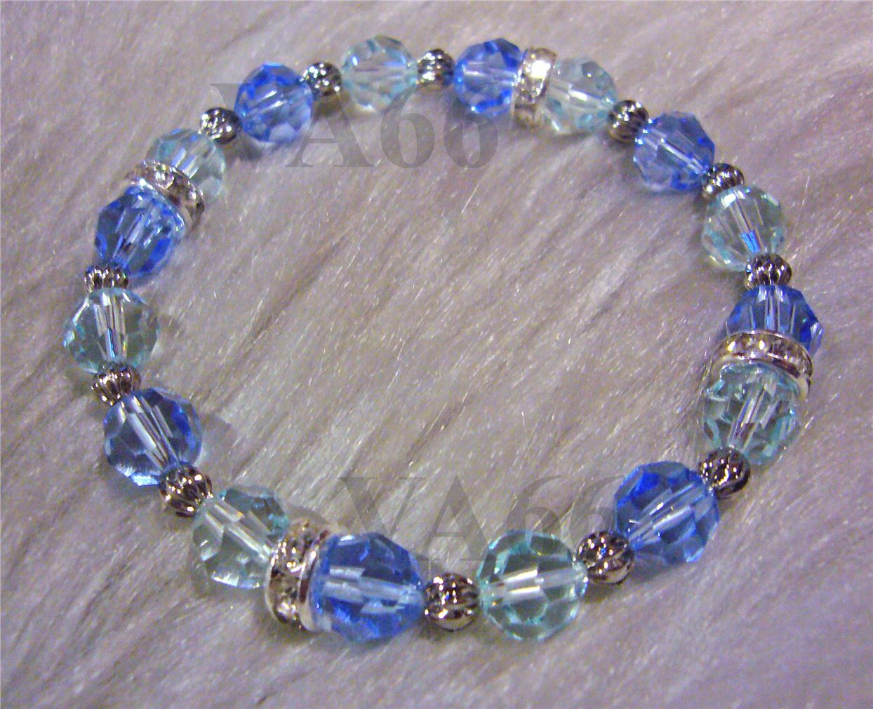 Elastic Stretch Swarovski Crystal Bracelet Blue Diamond Gift Fits All