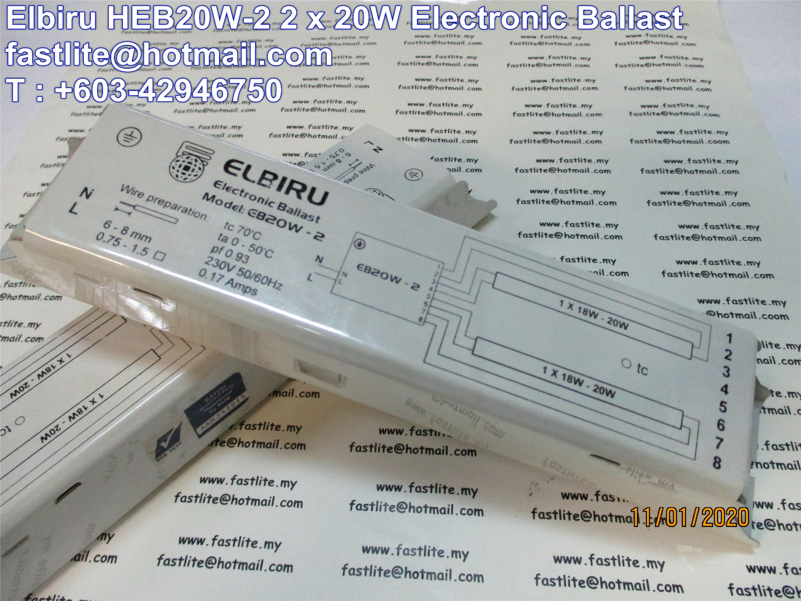 Elbiru 2 x 20W HEB20W-2 Electronic Ballast (Power Factor 0.98)