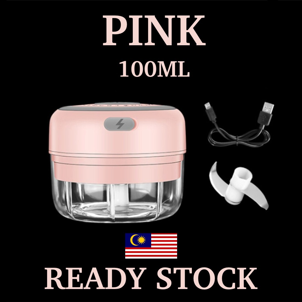 Electric Garlic Masher Automatic Garlic Crusher Chopp - [PINK (100ML)]