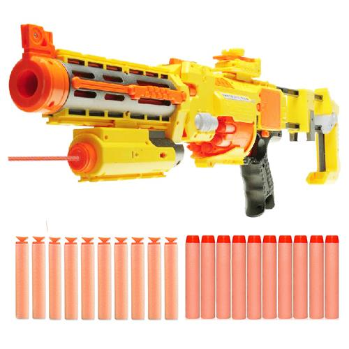 Electric Nerf Style Toy Gun with Laser Sight - Semi Auto Soft Dart Gun