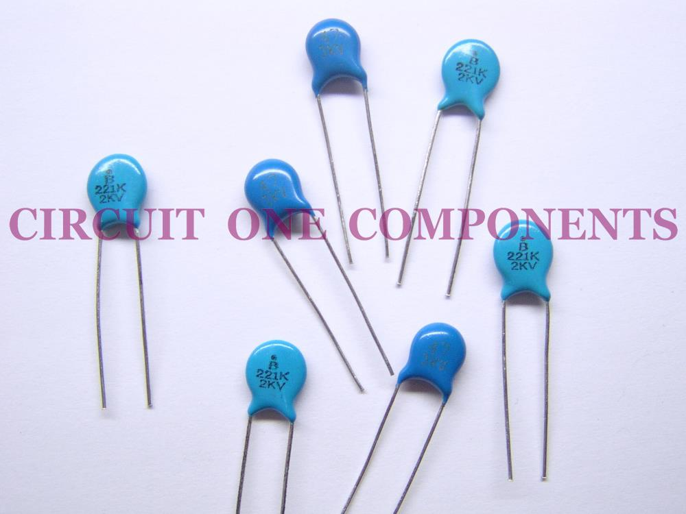 Electronic Components - 2Kv 220pF Ceramic Disc Capacitor - Each