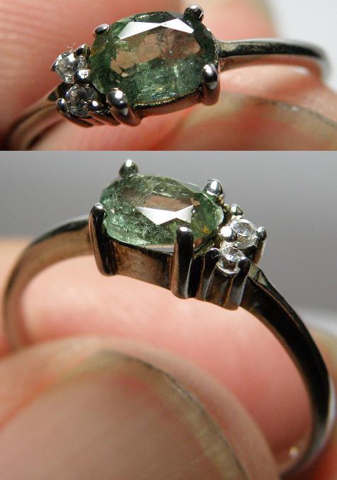 Elegance green Tourmaline with crystal lady silver ring - 1.31g