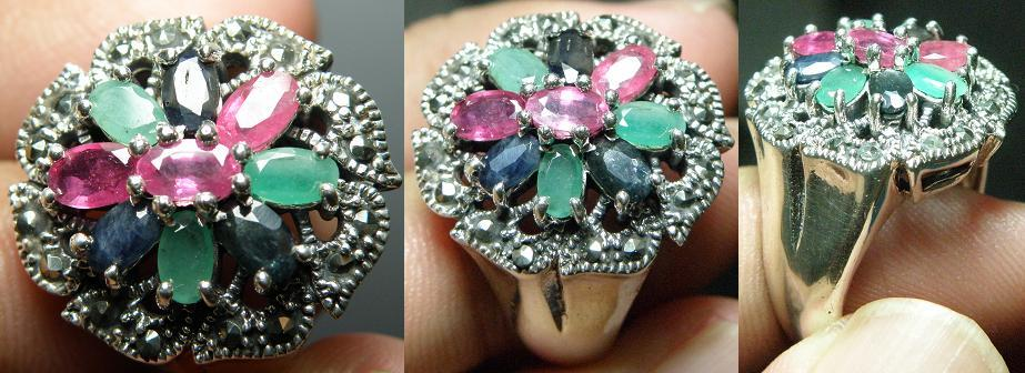 Elegance Ruby, Sapphire,Emerald flower design silver ring-11.78g-ER39