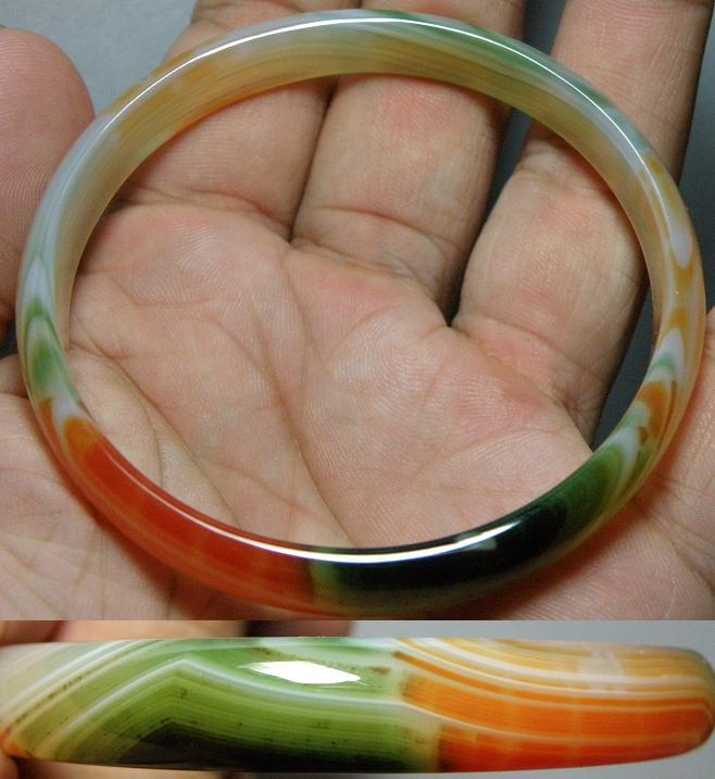 Elegance wave patent 2 colour green and orange Agate bangle - 20.77g