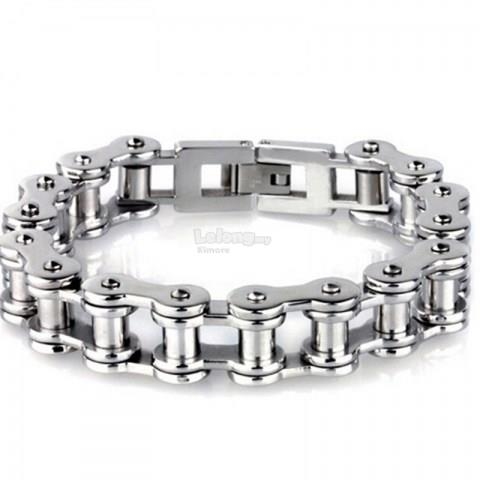 Elegant Bicycle Chain Design Silicone Stainless Steel Bracelet