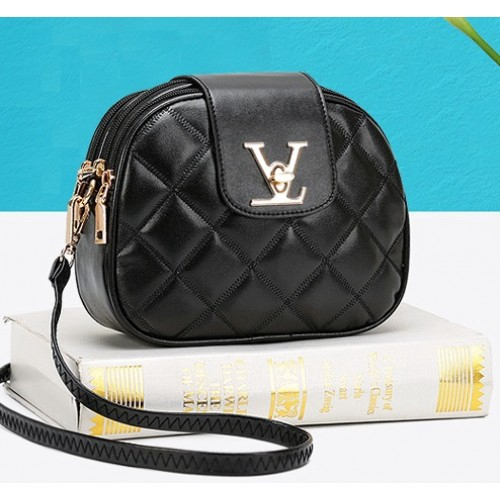 Elegant Black V Sling Shoulder Handbag