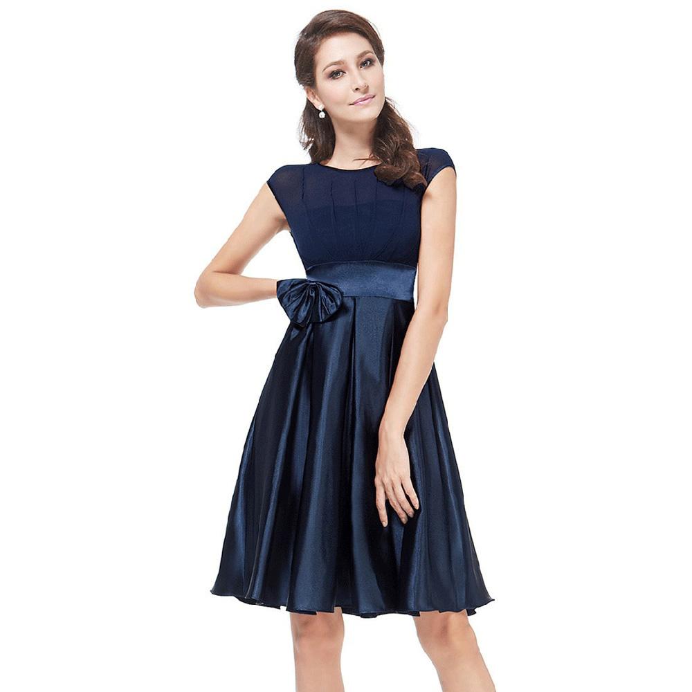 34f85b135a499 ELEGANT ROUND COLLAR BOWKNOT DESIGN BALL GOWN DRESS FOR WOMEN (DEEP BL