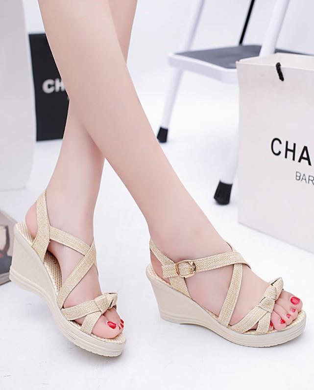 67881b2cb84 Elegant Cross Wedge Sandals (Cream) (end 1 1 2020 12 00 AM)