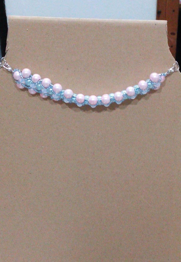 Elegant Crystal Pearl Charm Choker Necklace
