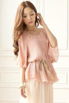 Elegant Flower-Side Loose Chiffon Blouse (Pink)