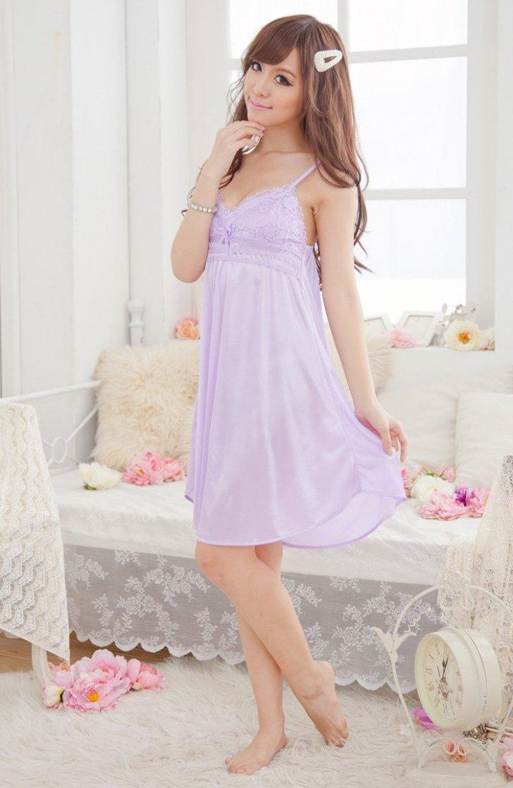 Elegant Lace Ice Silk Sexy Lingrie (Light Purple)
