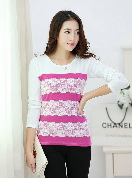 Elegant Lace Show-slim Long-sleeve Blouse (Rose Red