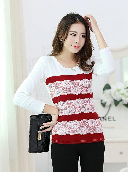 Elegant Lace Show-slim Long-sleeve Blouse (Wine Red)