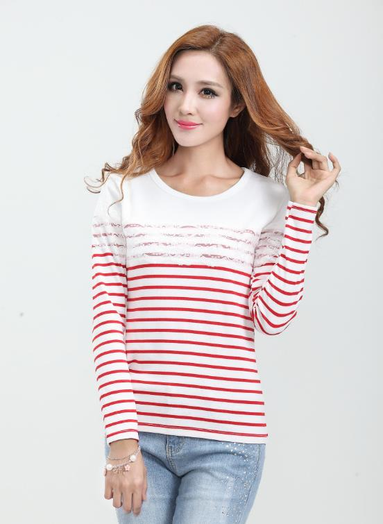 Elegant Lace Stripe Long-sleeve Blouse (Red)